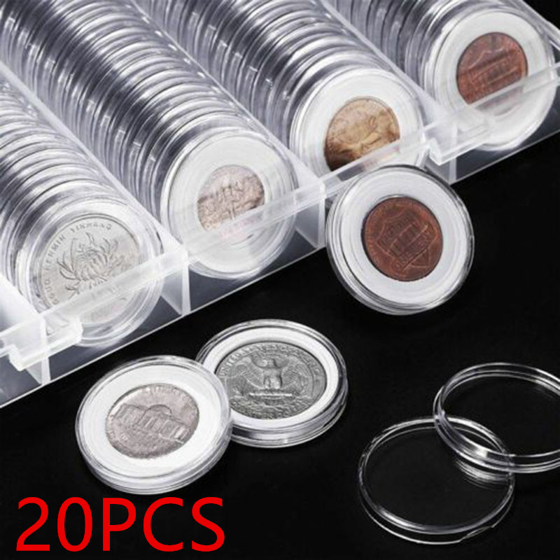 20pcs Luxury Clear Round Plastic Coin Holder Capsule Newest Available Box Pack Coin Album Case Round Holder Coin