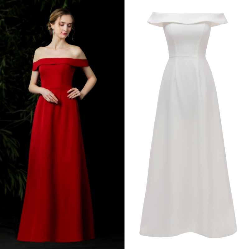 Simpe Women Evening Dress Off Shoulder Soft Satin Evening Gown Factory Price 100% Real Sample Photo