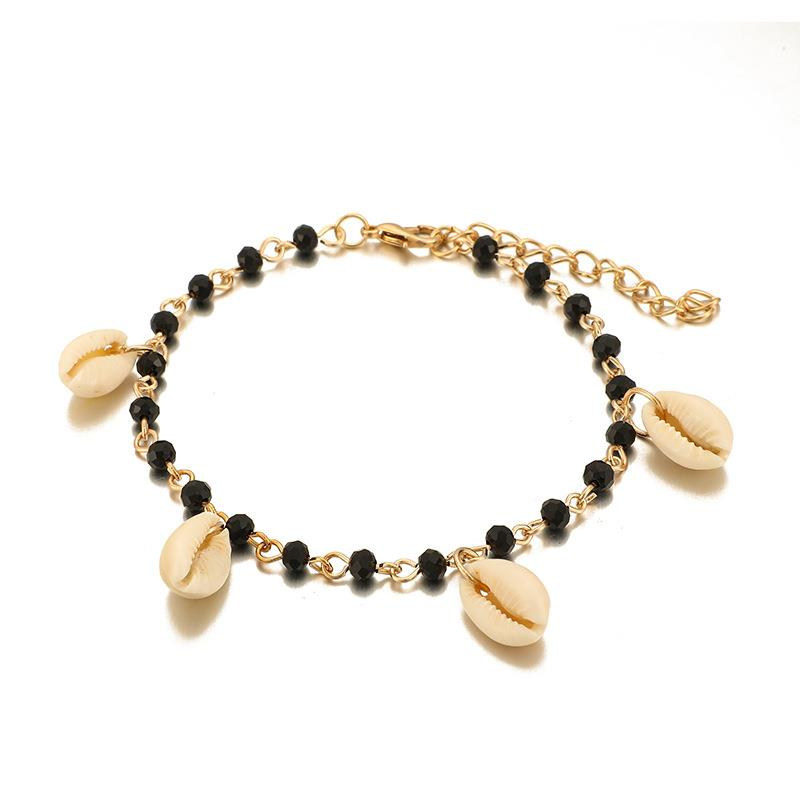 Bohemian Style Beach Anklet Fashion Shell Decor Beaded Charm Anklet Foot Chain Jewelry Accessories Hawaii Beach Party Dress Up