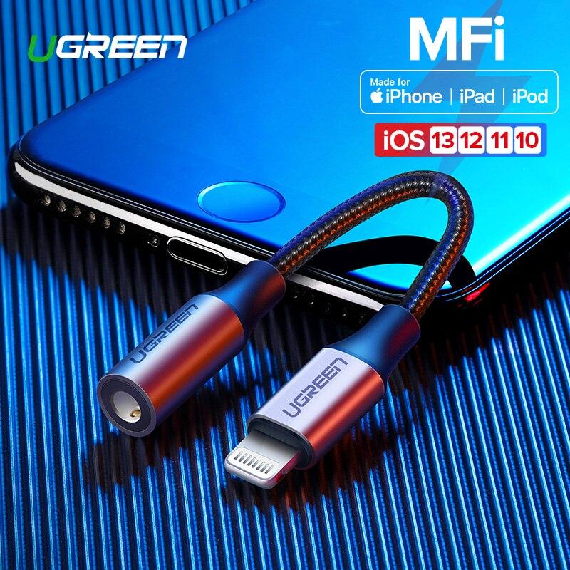 Ugreen mfi relâmpago para 3.5mm jack aux cabo para iphone 11 pro x xs xr 8 7 3.5mm relâmpago 3.5 fones de ouvido adaptador áudio divisor