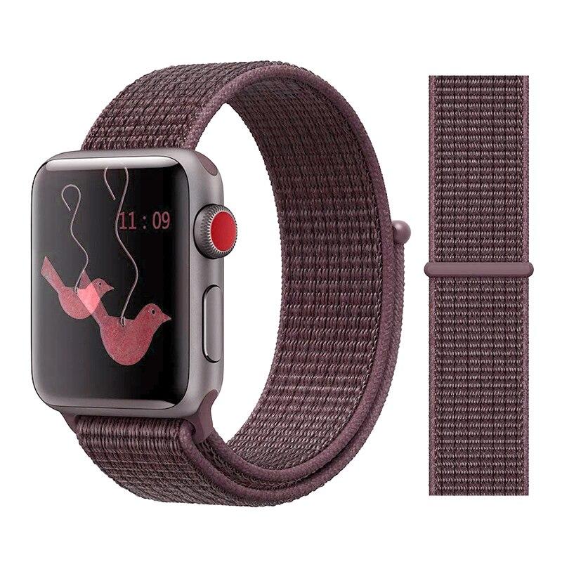 Для наручных часов Apple Watch, версии 3/2/1 38 мм 42 мм нейлон мягкий дышащий нейлон для наручных часов iWatch, сменный ремешок спортивный бесшовный series4/5 40 мм 44 мм - Цвет ремешка: Color32 Purple Smoke