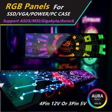 На заказ RGB панель DIY MOBO AURA SYNC 5V 3Pin/12V 4Pin RGB для VGA/SSD/power/PC чехол с задней панелью шасси светильник