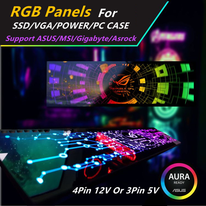 Custom Made RGB Panel DIY MOBO AURA SYNC 5V 3Pin/12V 4Pin RGB For VGA/SSD/Power/PC Case Backplate Chassis Light Board