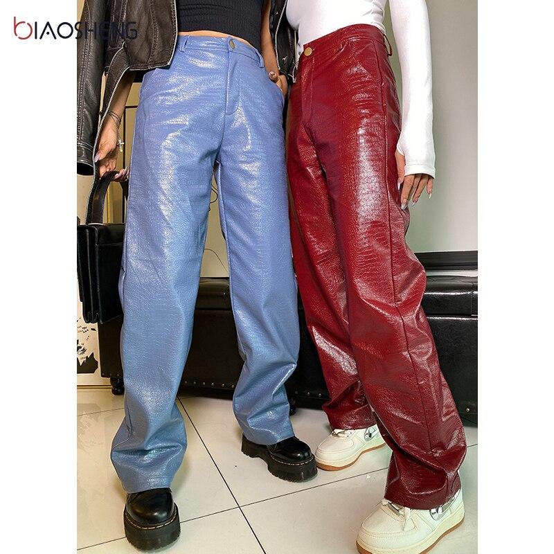 Faux Leder Hosen frauen Hosen Hohe Taille Dame Lose Sexy Streetwear Fashion Elegante Gerade bein Hosen Weibliche Hosen