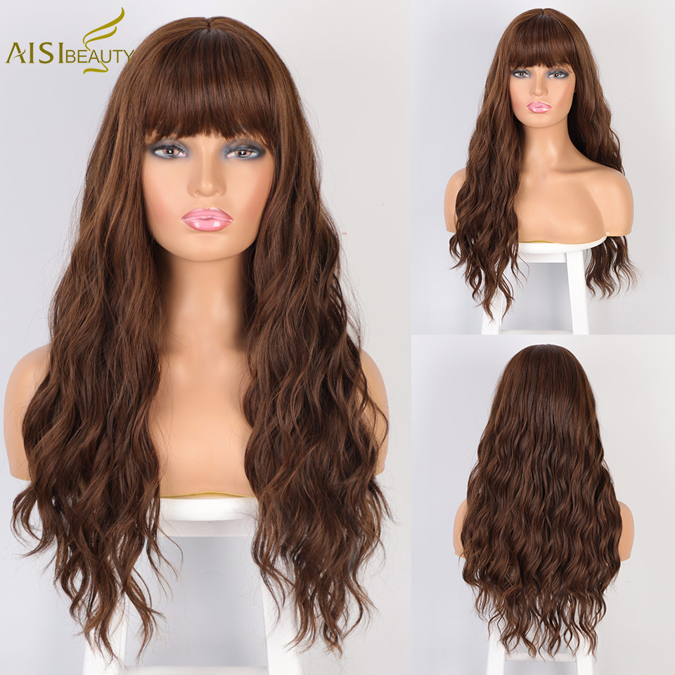AISI Beauty Long Water Wave Synthetic Wigs With Bangs Mix Brown Wig For Women Pink Red Black Heat Resistant Hair