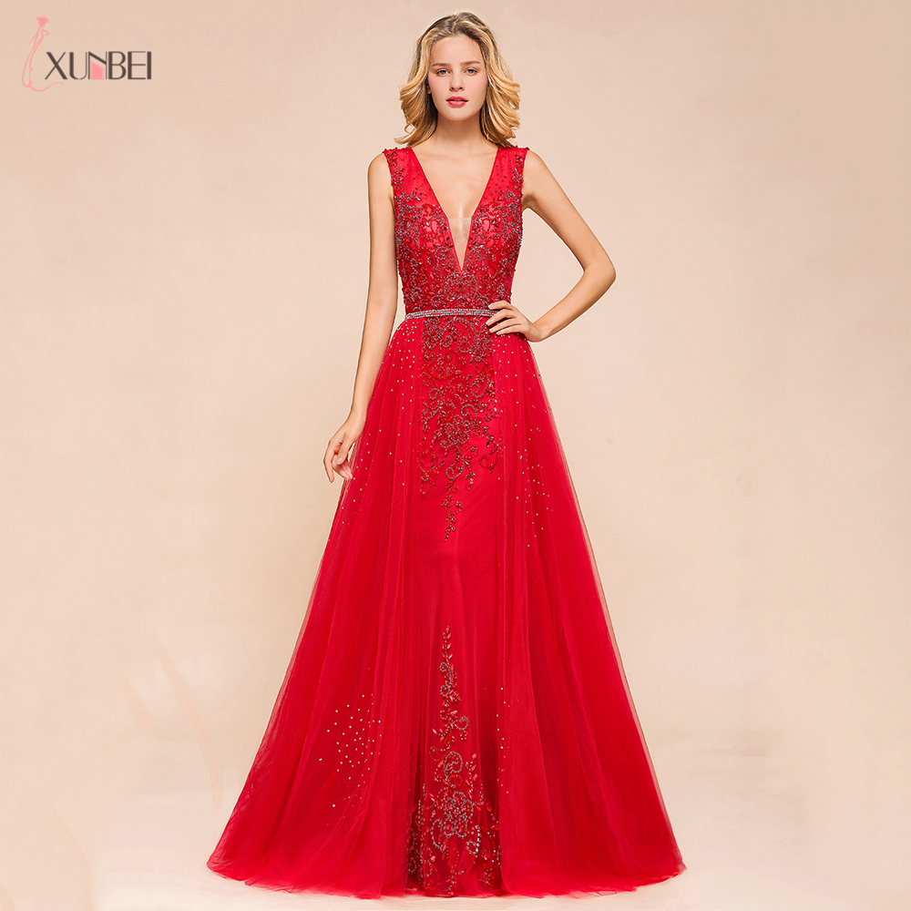 Vestido De Festa 2020 New Arrivals Long Evening Dresses V Neck Formal Prom Dresses Detachable Dresses Party Gowns Robe De Soiree