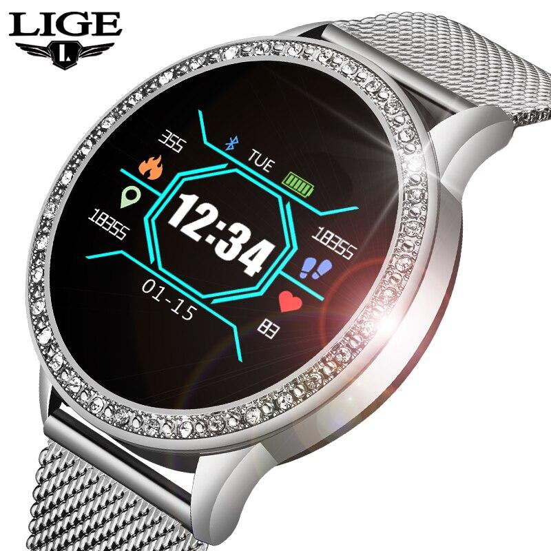 LIGE 2019 Novo Smart Watch mulheres Homens Da Moda Tela Colorida OLED Smartwatch Rastreador De Fitness Monitor De Freqüência Cardíaca Para Android IOS + caixa