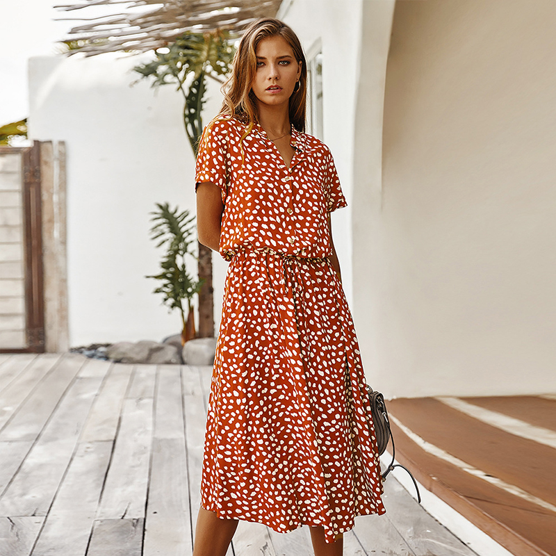 Fashion Polka Dot Print Dress Women High Waist Sashes A Line Summer Dress Short Sleeve Single-Breasted Bohemian Midi Dresses