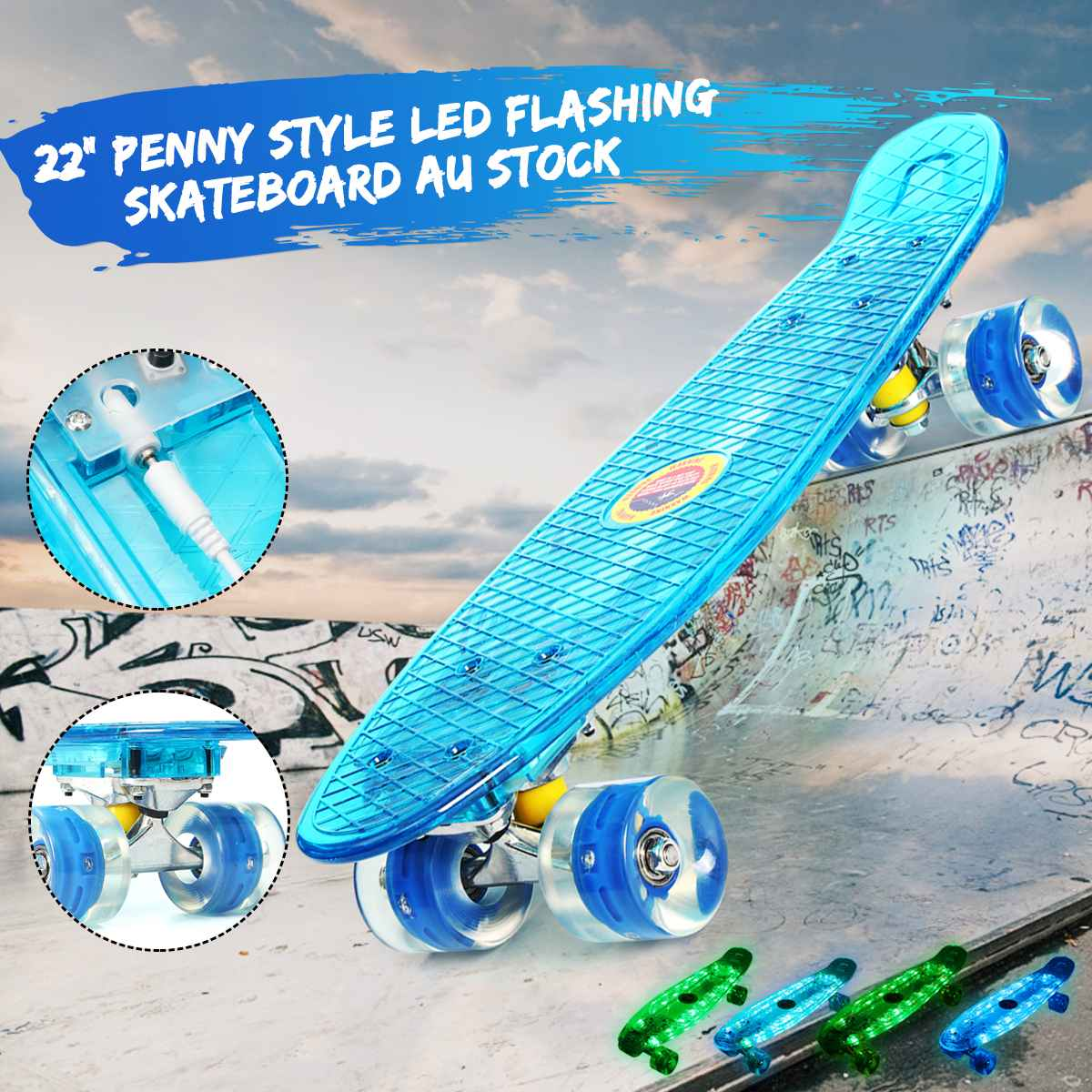 LED Penny Style Flashing Single Warped Four Wheel Skateboard Teenagers Kids Baby Happy Gift Shining Skateboard