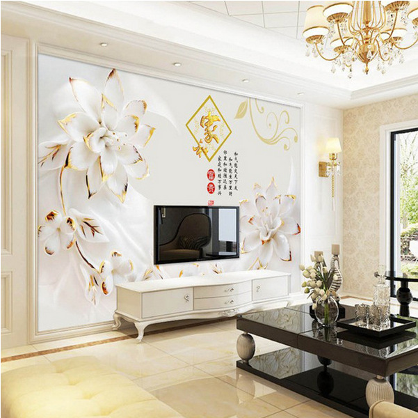 5D Modern TV Backdrop Wallpaper 3D Wallpaper Mural Simple Film And Television Wall Cloth Bedroom Nonwoven Fabric Decoration Livi