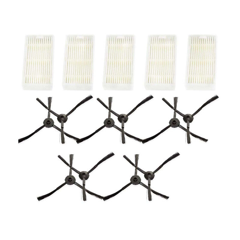 5 Filters+10 Side Brushes For Medion MD16192 MD18500 MD18501 MD18600 Series