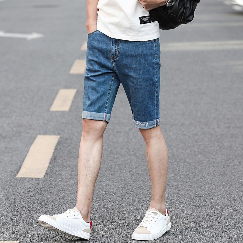 Summer Thin Section Denim Shorts Men's 5 Shorts Bermuda Shorts Korean-style Men Elasticity Pants Men's Fashion Breeches
