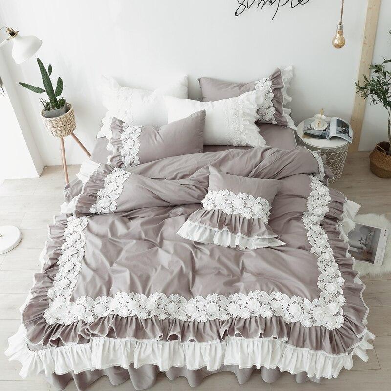 Bedding Set Queen Size 100%Cotton Korean Style Lace Bed Skirt Pure Cotton Bedclothes King Size housse de couette Bed Set