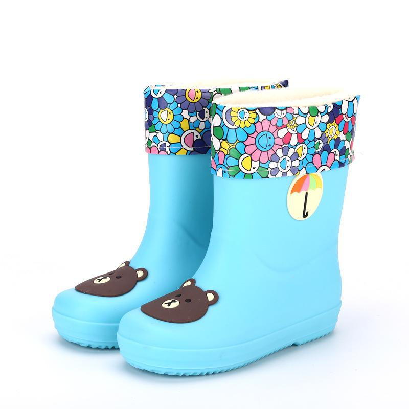 New Rain Boots Kids Boys Rubber Rainboot Baby Girls Waterproof Boot Pvc Warm Children Water Shoes Cartoon Four Seasons Removable