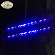 2PCS עמיד למים אקריליק נע LED דוושה מוזמן רכב שפשוף צלחת דוושת דלת אדן מסלול אור עבור שברולט קמארו 2016   2020