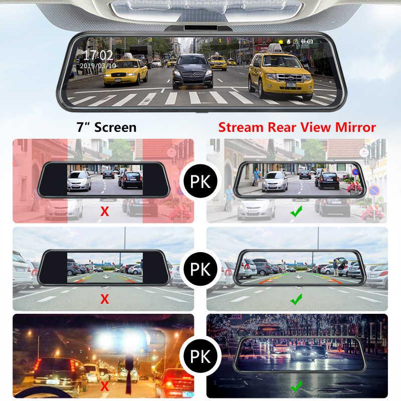 """כפול 1080P 10 """"זרם רכב RearView מראה DVR 2.5D מסך סופר ראיית לילה מצלמת דאש מצלמה וידאו מקליט אוטומטי רשם"""