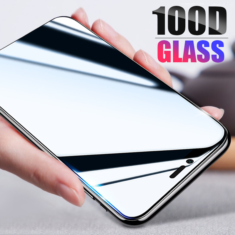 100D Full Cover Tempered Glass For IPhone X XR XS MAX 11 Pro Screen Protector Film On For Iphone 6 7 8 Plus 6s Protective Glass