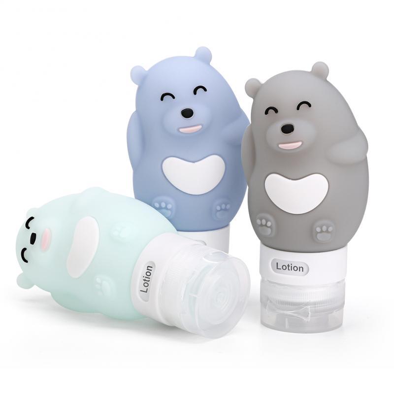 1Pcs Portable Cartoon Animal Bear Penguin Silicone Travel Case Organizer Shampoo Shower Gel Lotion Storage Refillable Bottle PH2
