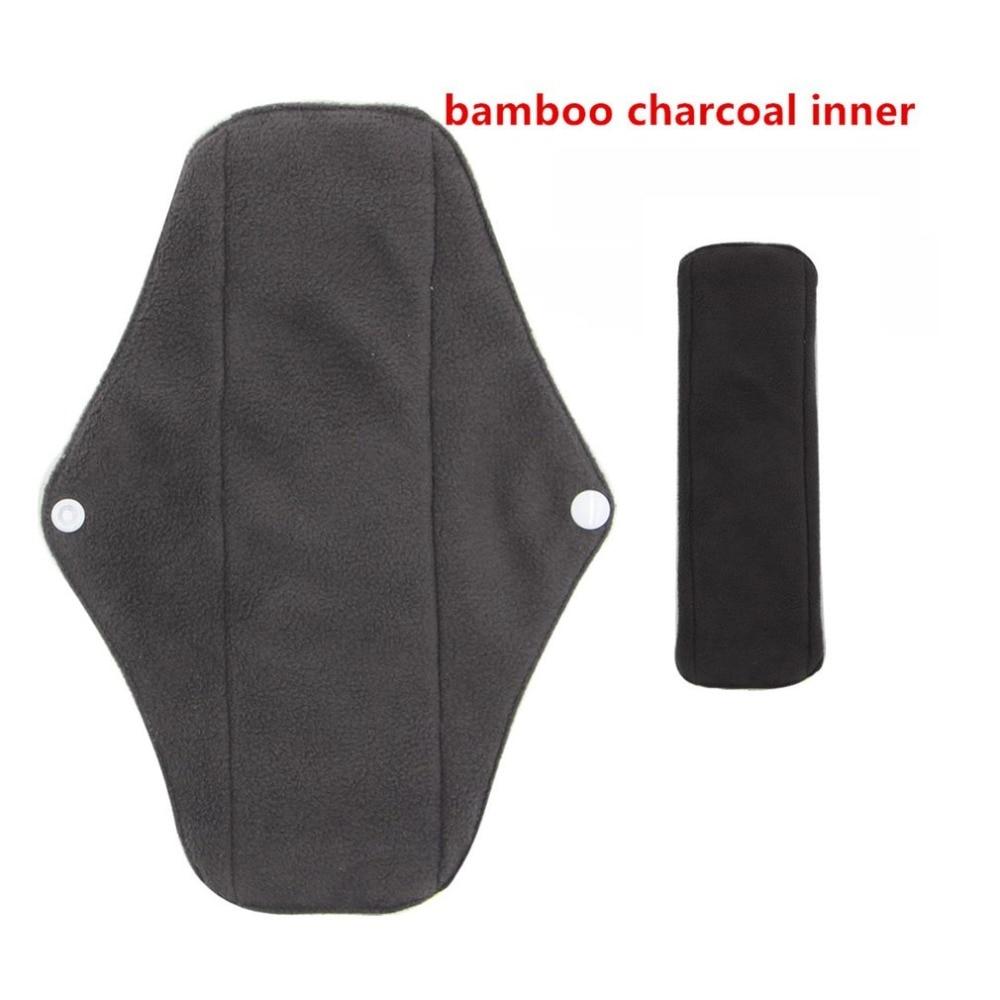 HOT Reusable Women Bamboo Charcoal Cloth Washable Menstrual Pad Leak-Proof Night Sleep Sanitary Napkin Nappy Towel Pad  Set