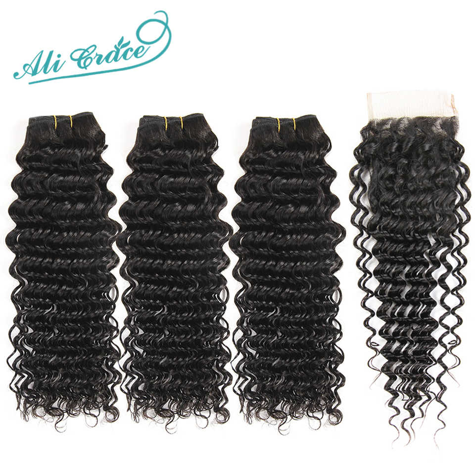 Ali Grace Brazilian Deep Wave Bundles With Closure HD Lace Medium Brown 3 Bundles Human Hair Deep Wave with Closure Remy Hair