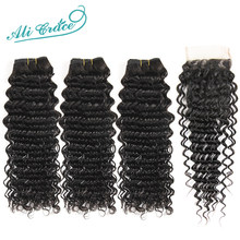 Ali Grace Brazilian Deep Wave Bundles With Closure HD Lace Medium Brown 3 Bundles Human Hair Deep Wave with Closure Remy Hair(China)