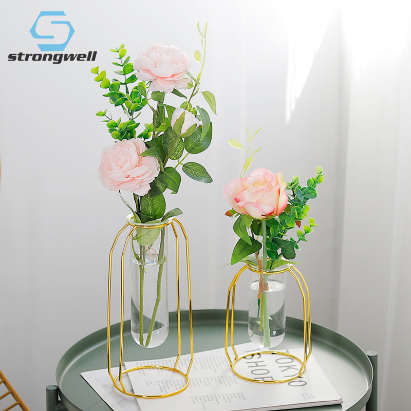 9.3US $ 30% OFF Strongwell Nordic Golden Glass Vase Iron Hydroponic Plant Flower Vase Tabletop Coffe...