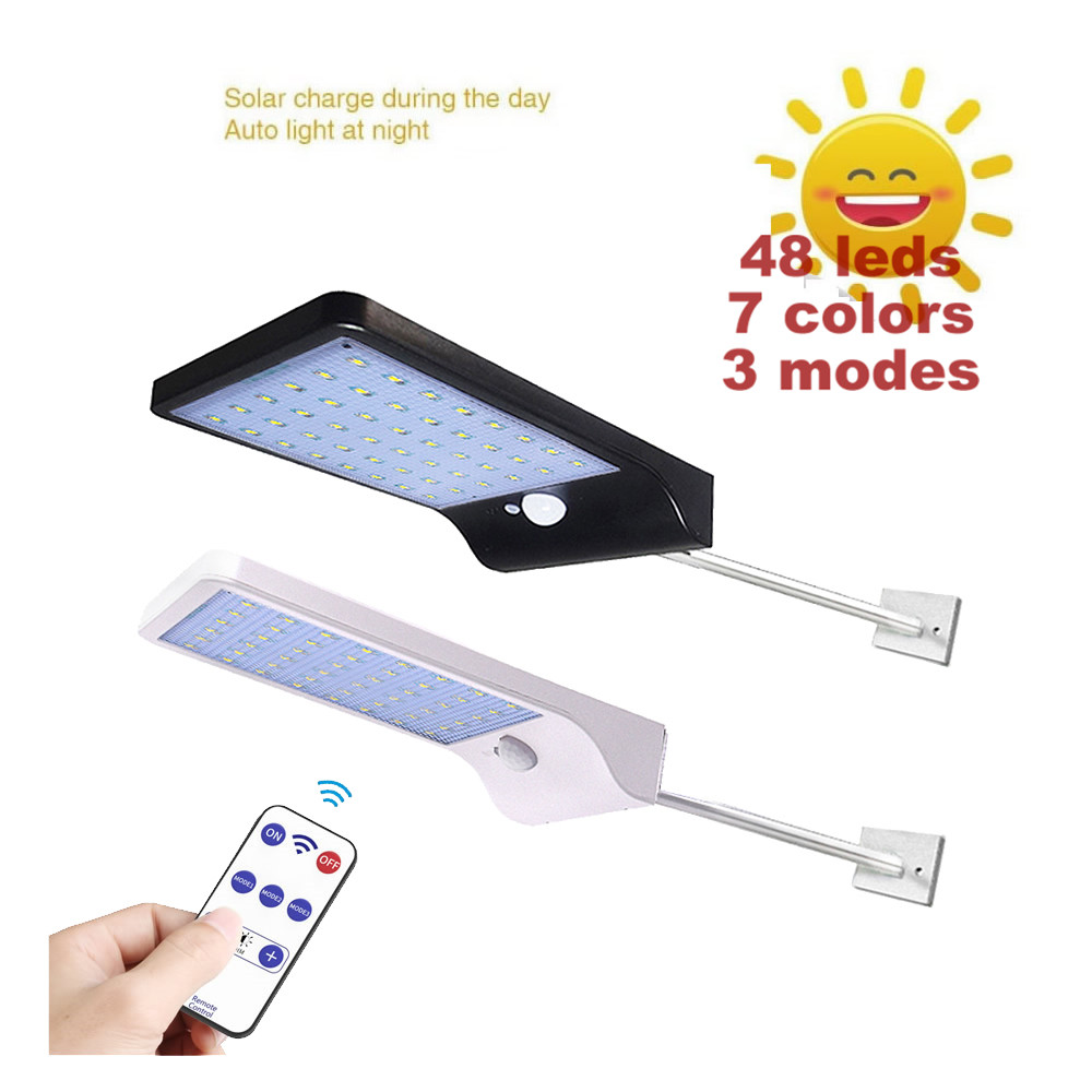 48 LEDs LED Ultra Thin Solar Power Wall Light With Rod 3 Modes Outdoor Waterproof Lighting Night Lights With Remote Control Remo