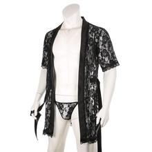 Сексуальный мужской повседневный ночная рубашка с стринги кружево сетка с принтом прозрачный прозрачный длинный халаты пляж халат +халат халат