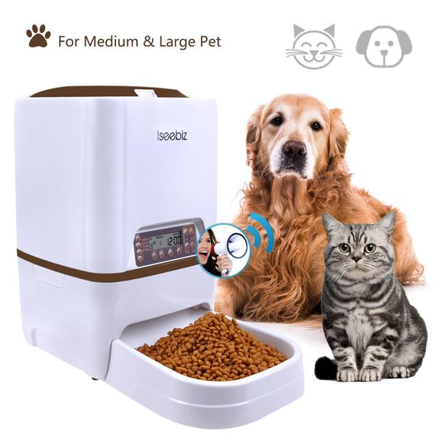 Iseebiz Automatic Pet Feeder 6L Dog Cat Feeder with Voice Recording LCD Screen Bowls For