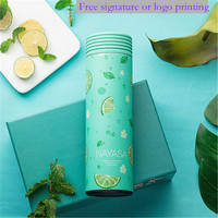 500ml Free signature or logo printing Cool and colorful water bottle, environmentally friendly , 304 stainless steel liner,