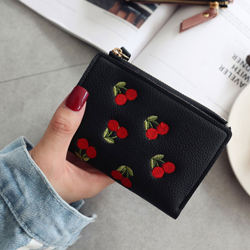 Fashion Women Short Wallet PU Leather Cherry Embroidery Coin Purse Card Holders Lady Girl Mini Money Bag FS99