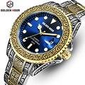 Мужские часы Топ люксовый бренд креативные кварцевые часы GOLDENHOUR мужские часы из нержавеющей стали ремешок большие спортивные часы Relogio ...