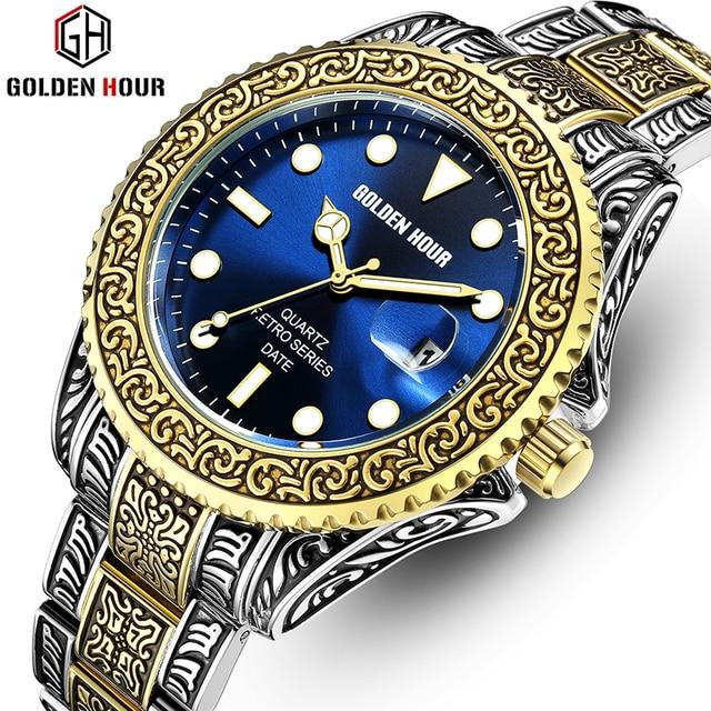 Men's GOLDENHOUR Brand  Watch, Top Luxury Creative Quartz classic Watches for Men Stainless Steel Watch