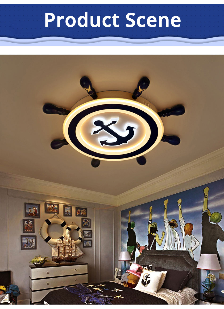 Kids Pirate Boat Rudder Ceiling Light with Remote Control