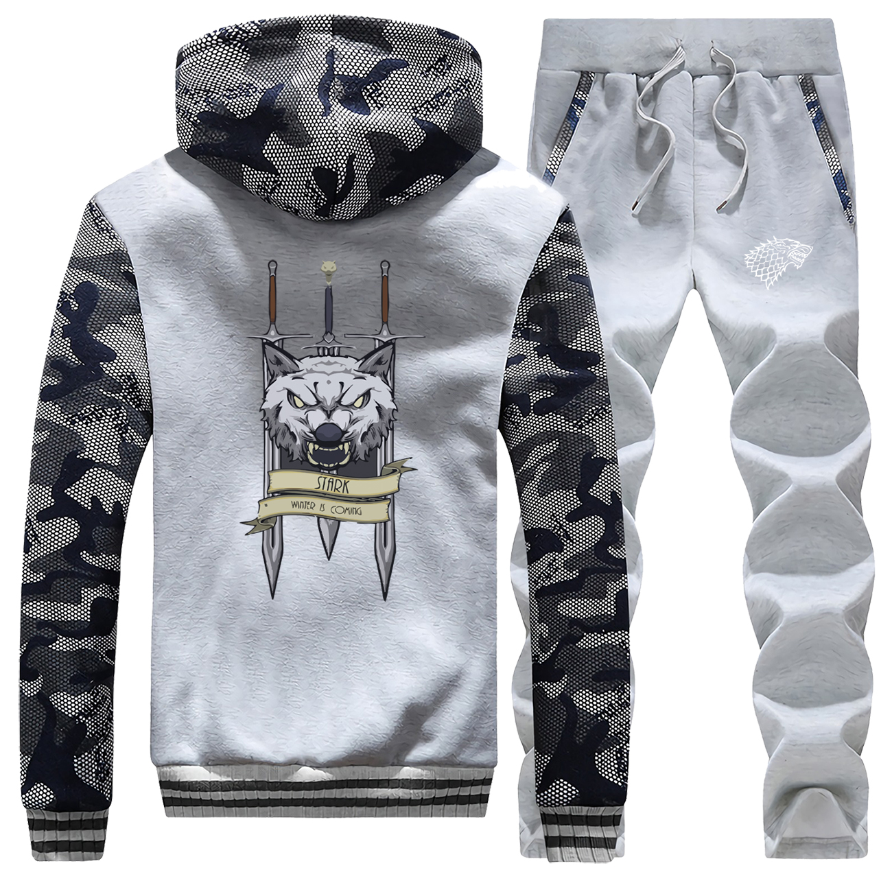 Winter Hot Sale Game Of Thrones Sportswear Mens Camouflage Hoodies Warm Jackets Suit House Of Stark Fashion+2 Piece Set Pants