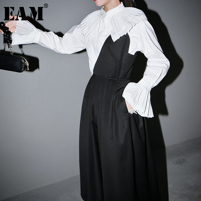 [EAM] Women White Pleated Split Big Size Blouse New Stand Collar Long Sleeve Loose Fit Shirt Fashion Spring Autumn 2020 1S624