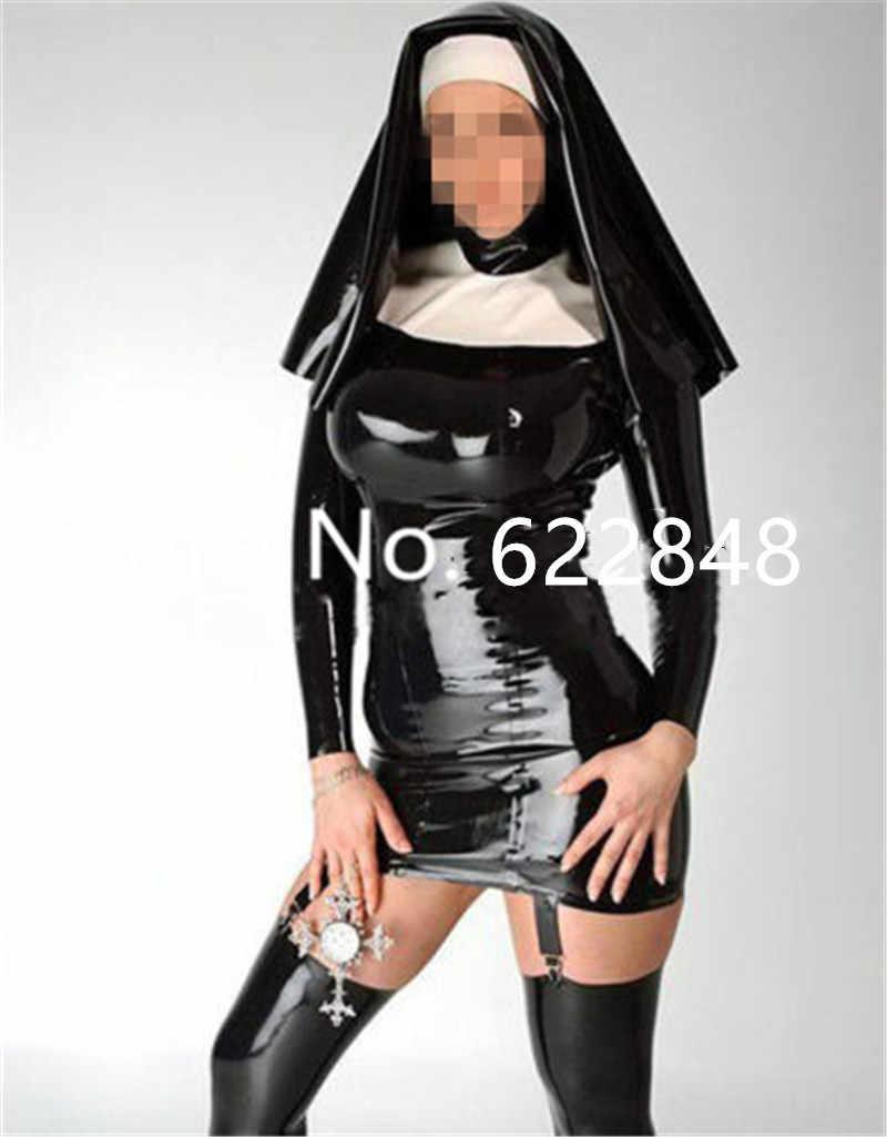 Latex แม่ชี Queen ชุดกับ Garter ยางชุดเครื่องแต่งกายที่มี Hood Clubwear เซ็กซี่ฮาโลวีนเครื่องแต่งกาย
