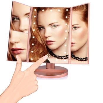 Lusterko kosmetyczne z podświetleniem LED 22 lampka nad lustro powiększające 3 składany blat ekran dotykowy kosmetyczne 10x lupa małe lusterko przyrząd kosmetyczny tanie i dobre opinie MOFAJIANG Wyposażone CN (pochodzenie) make up mirror Lusterko do makijażu 18 5X25CM led makeup mirror professional makeup mirror