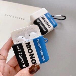 Image 2 - Para airpods funda de auriculares Bluetooth inalámbricos de silicona suave para estudiantes borrador para airpods 1/2 funda bonita caja de carga