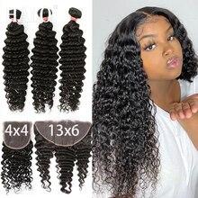 Extensiones de cabello humano ondulado, 28 y 30 pulgadas, con Frontal Hd de 13x6, rizado con agua brasileña, 3 y 4 mechones con cierre, extensión de cabello Remy