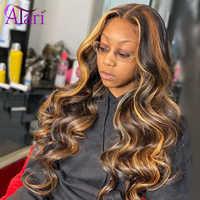 Encaje transparente resaltar rubia peluca con malla frontal del cuerpo del pelo humano de la onda de encaje peluca con malla frontal malayo pelo virginal ondulado pelucas para mujeres