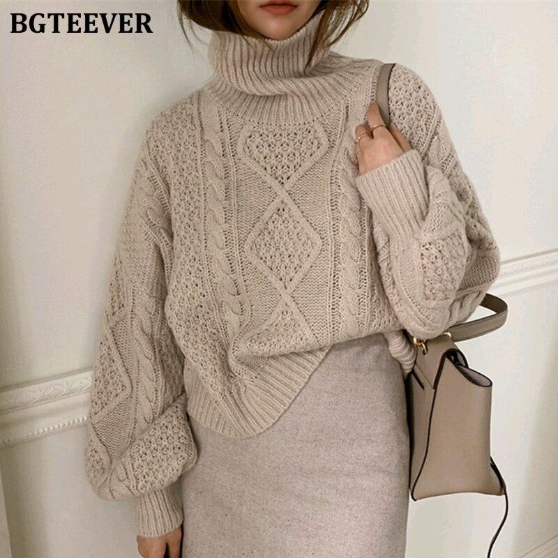 BGTEEVER Winter Turtleneck Sweater Women Casual Loose Twist Pullover Sweater Female 2019 Lantern Sleeve Female Knitted Jumpers