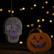 Halloween wooden 2019 New Year Coloured lights Human skeleton pumpkin pendant Horror hanging DIY street light