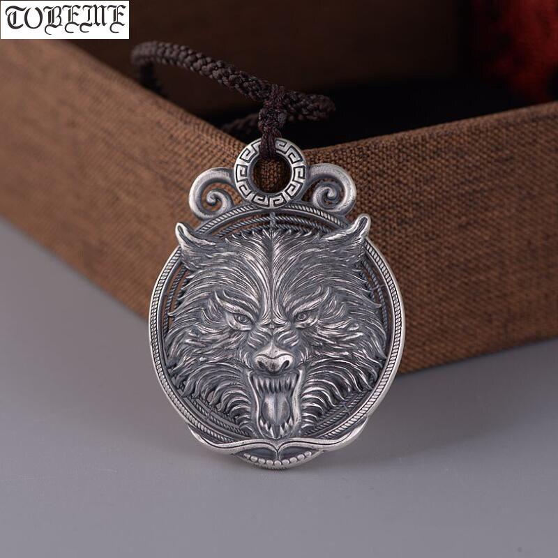 100% 925 argent artisanal loup pendentif collier 925 Sterling puissance loup homme pendentif bonne chance pendentif Punk bijoux