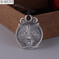 100% 925 Silver Handcrafted Wolf Pendant Necklace 925 Sterling Power Wolf Man Pendant Good Luck Pendant Punk Jewelry