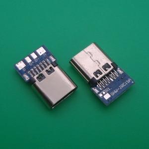 5pcs USB 3.1 Type C Connector 14 Pin Female Socket receptacle Through Holes PCB 180 Vertical Shield USB-C(China)