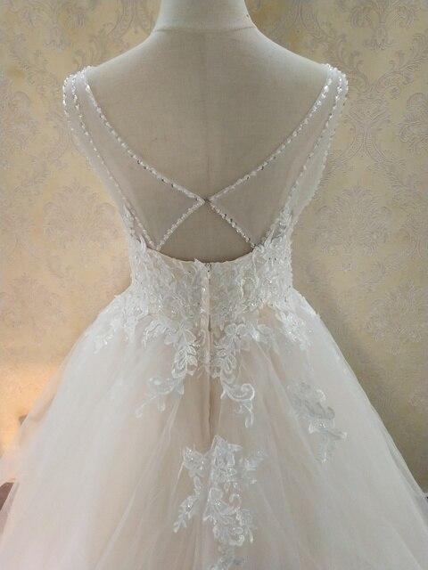 ZJ9204 Elegant A-Line V Neck Ruffles Tiered Boho Beach Champagne Wedding Dresses Deep Lace Appliques Gowns Custom 4