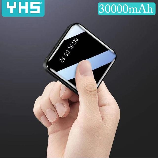 Mi Ni 30000mAh Power Bank สำหรับ iPhone 8 XS Xiao Mi Mi Powerbank Pover ธนาคาร Charger 2 พอร์ต USB ภายนอกแบตเตอรี่ Poverbank แบบพกพา