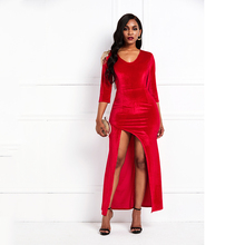 Velvet Maxi Dress Elegant Evening Women Luxury Fashion Robe Vintage Sexy Split Floor Length Party Bodycon Long Dresses Female недорого