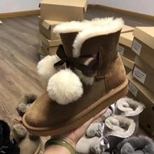 Nowa Australia moda kobiety buty 100% naturalne buty śniegowe futrzane prawdziwa skóra owcza ciepła wełna zimowe buty damskie buty